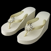 Flower Rhinestone & Pearl High Wedge Flip Flops