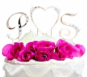French Flower ~ Initials & Heart Cake Topper Set