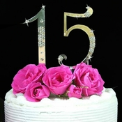 French Flower ~ Large Sweet 15 & Sweet 16 Cake Topper Set