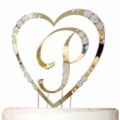 French Flower ~ Single Heart with Large Letter Cake Topper Set