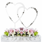 French Flower ~ Swarovski Crystal Wedding Cake Topper ~ Double Large Silver Heart