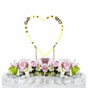 French Flower ~ Swarovski Crystal Wedding Cake Topper ~ Single Small Gold Heart