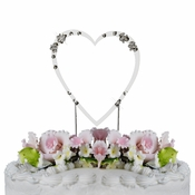 French Flower ~ Swarovski Crystal Wedding Cake Topper ~ Single Small Silver Heart