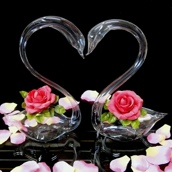Glass Swan Heart Event Decoration Sold Individually ***Discontinued***