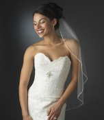 Glistening Faux Pearl & Bugle Bead Edge Veil in Elbow Length 113