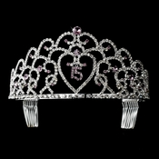 Glistening Quincea�era Sweet 15 Light Amethyst Princess Tiara in Silver 252