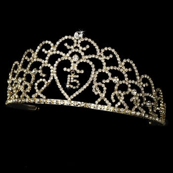 Glistening Quinceañera Sweet 15 or 16 Princess Tiara in Gold 252