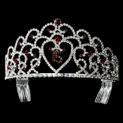 Glistening Quincea�era Sweet 15 Red Princess Tiara in Silver 252