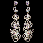 Gold AB Rhinestone Dangle Earrings 9890