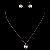 Gold AB Round Swarovski Element Crystal Jewelry Set 9600