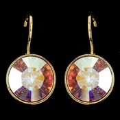 Gold AB Swarovski Crystal Element Round Leverback Earrings 9600