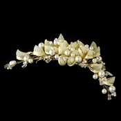 Gold and Ivory Champagne Bridal Comb 8107