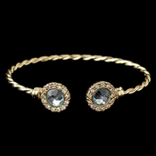 Gold Aqua Stone In Twisted Bangle Bracelet 82060