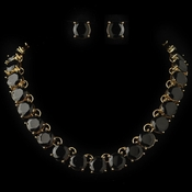 Gold Black Acrylic Stone Fashion Jewelry Set