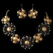 Gold Black Copper Stone Flower Fashion Jewelry Set 82052