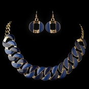 Gold Blue Fashion Enameled Jewelry Set 82033