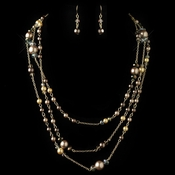 Gold Brown Cream Pearl & AB Rondelle Crystal Fashion Jewelry Set