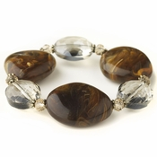 Gold Brown Faceted Glass & Stone Stretch Bracelet 9506