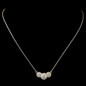 Gold Clear 3 Round Pave CZ Pendent Necklace