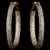 Gold Clear CZ Crystal Inside Outside Pave Hoop Earrings 9401