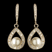 Gold Clear CZ Crystal Teardrop & Diamond White Pearl Accent Drop Earrings 9745