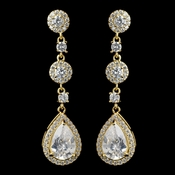 Gold Clear CZ Teardrop Dangle Earrings