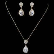 Gold Clear CZ Teardrop Pendant Jewelry Set 7761