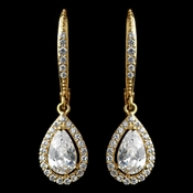 Gold Clear Leverback Teardrop CZ Drop Earrings
