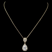 Gold Clear Pave CZ Teardrop Pendant Necklace 7761