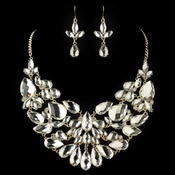 Gold Clear Pear Cut Rhinestone Jewelry Set 82050