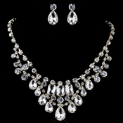 Gold Clear Pear & Radiant Cut Rhinestone Jewelry Set 82051