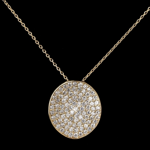 Gold Clear Rhinestone Circle Pendant Necklace 6042