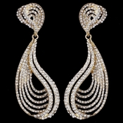 Gold Clear Rhinestone Dangle Earrings 9893