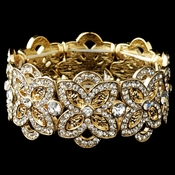 Gold Clear Rhinestone Flower Stretch Bracelet