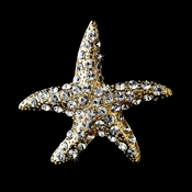 * Gold Clear Rhinestone Starfish Brooch 93