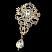 Gold Clear Rhinestone Vintage dangle Brooch 923