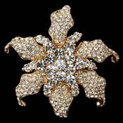 Gold Clear Rhinestone Wilted Flower Brooch 181