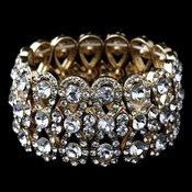 Gold Clear Rhinestone Wise Bow Tie Stretch Bracelet **Discontinued**