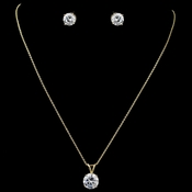 Gold Clear Round CZ Pendant Jewelry Set 8598