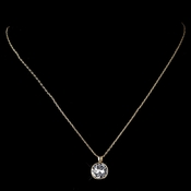 Gold Clear Round Swarovski Crystal Element On Chain Necklace 9600