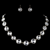 Gold Clear Round Swarovski Element Crystal Necklace 9607 & Earrings 9600 Jewelry Set