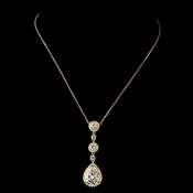 Gold Clear Round & Teardrop CZ Necklace