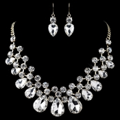 Gold Clear Round & Teardrop Rhinestone Jewelry Set 82046