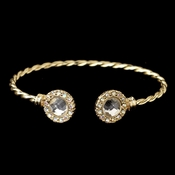 Gold Clear Stone In Twisted Bangle Bracelet 82060