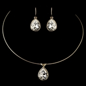 Gold Clear Teardrop Swarovski Element Crystal Jewelry Set 9604
