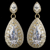 Gold Clear Teardrop CZ Drop Earrings **Discontinued**