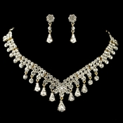 Gold Clear Teardrop Rhinestone Flower Jewelry Set