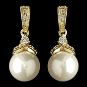Gold Diamond White Pearl & CZ Crystal Drop Earrings 8675