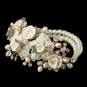 Gold Freshwater Rum Pearl, Faux Ivory Pearl & Rum Rose Stretch Bracelet 9900