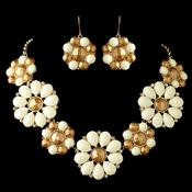 Gold Ivory Copper Stone Flower Fashion Jewelry Set 82052